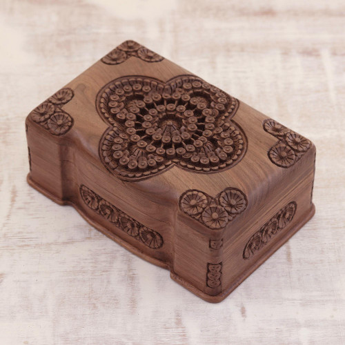 Floral Wood Jewelry Box 'Florid Cameo'