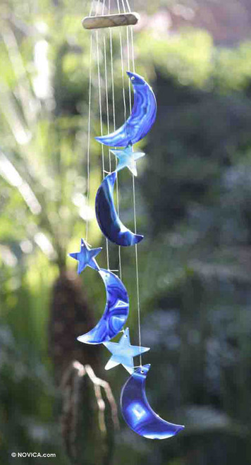 Agate Wind Chimes 'Blue Moon and Stars'