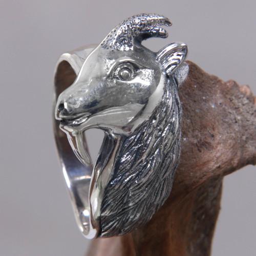 Men's Unique Sterling Silver Ring 'Capricorn'