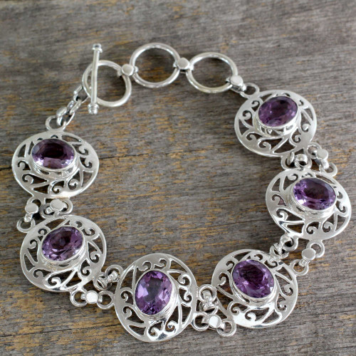 Amethyst and Sterling Silver Bracelet from India 'Lilac Dew'