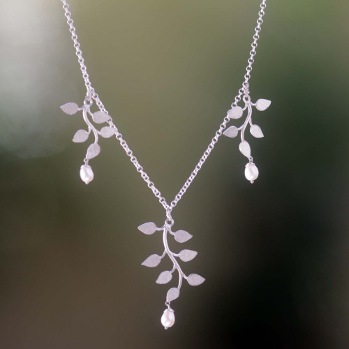 Sterling Silver and Pearl Necklace 'Cloud Forest'