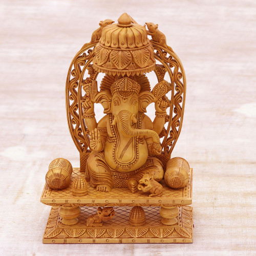 Artisan Crafted Religious Wood Sculpture  'Ganesha's Blessing II'