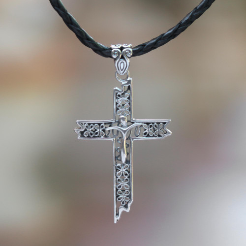 Leather cross necklace 'Contemporary Cross'