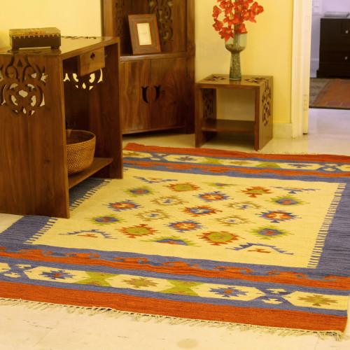 Wool Area Rug 5x8 Dhurrie Artisan Crafted 'Star Struck'