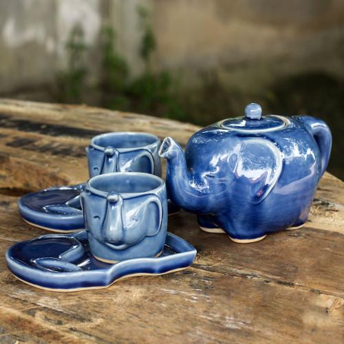 Celadon Ceramic Tea Service Set for 2 'Blue Elephant'
