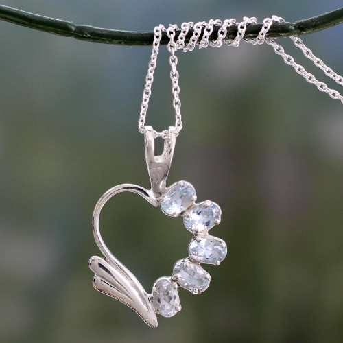 Blue Topaz Heart Necklace 'Winged Heart'