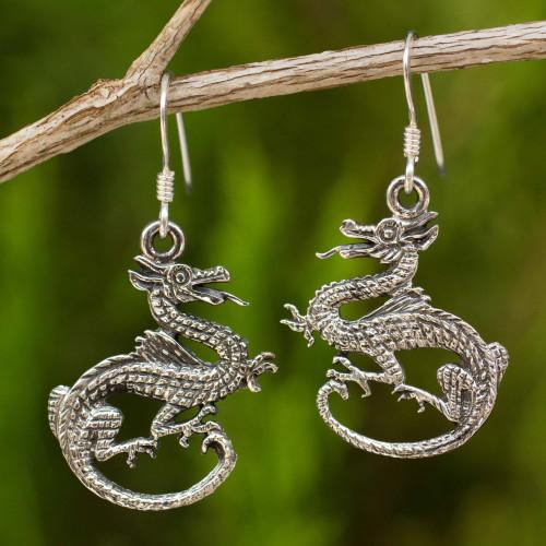 Handcrafted Sterling Silver Dangle Earrings 'Dragon Duet'