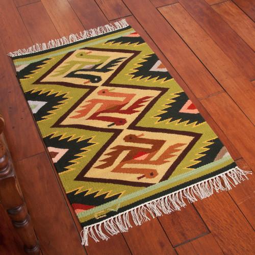 Wool rug 2x3 'Bird Wedding'