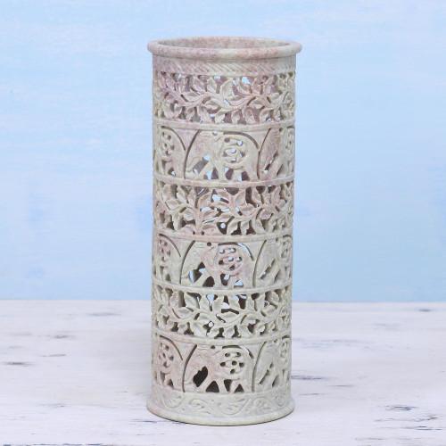 Handcrafted Natural Soapstone Decorative Vase 'Elephant Jungle'