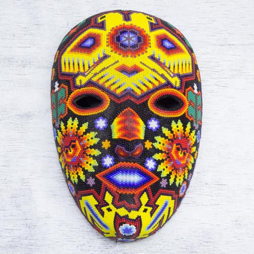 Authentic Huichol Hand Beaded Eagle Mask 'Duality of the Gods'