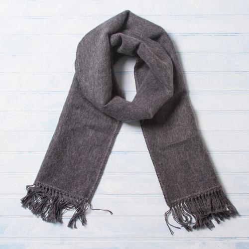 Unique Men's Alpaca Wool Scarf 'Gray Gift of Warmth'