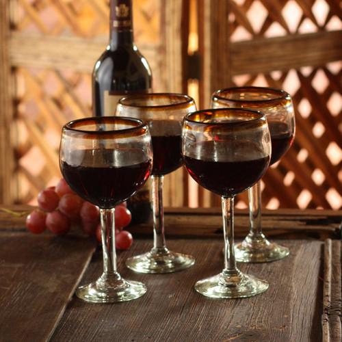 Fair Trade Handblown Glass Recycled Wine Glasses Set of 4 'Amber Globe'