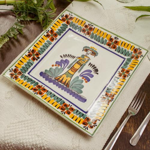 Square Majolica Ceramic Plate Handmade in Mexico 'Catrina'