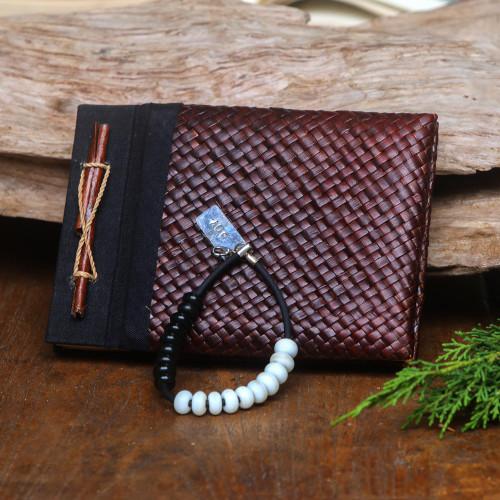Karma Counter bracelet and natural fiber journal 'Good Vibes'