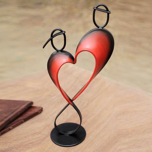 Heart Shaped Metal Sculpture from Peru 'Lassos of Love'