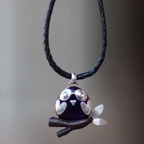 Handcrafted Owl Pendant Necklace with Blue Topaz Eyes 'Clever Owl'