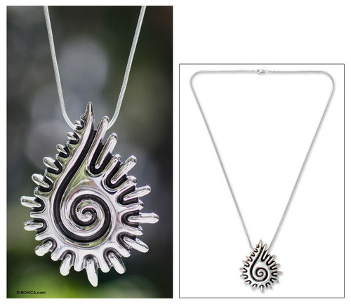 Handcrafted Sterling Silver Pendant Necklace 'Aztec Seashell'