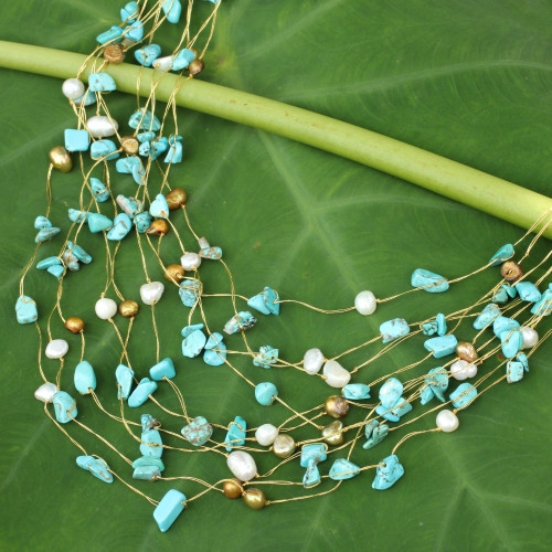 Beaded Turquoise Colored Necklace 'Cool Shower'