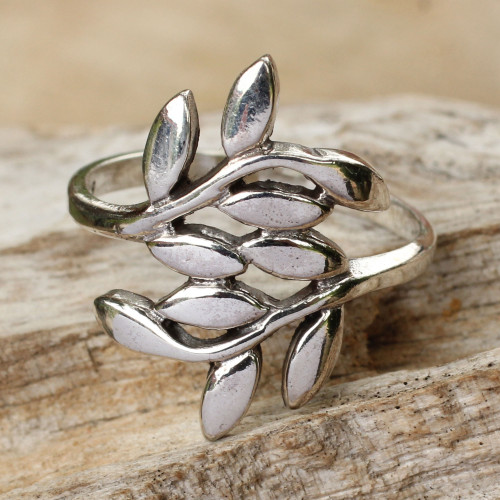 Sterling Silver Wrap Ring 'Olive Wreath'