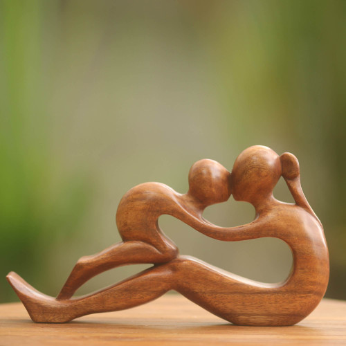 Hand Crafted Romantic Wood Sculpture 'Endless Love'