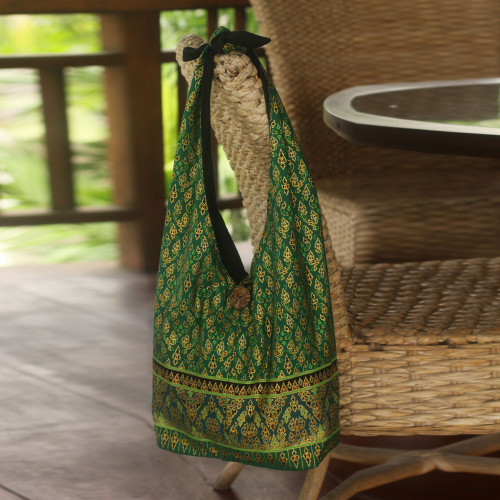 Hand Crafted Cotton Sling Handbag from Thailand 'Royal Thai Emerald'