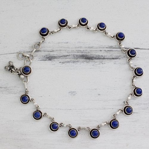 Handcrafted Sterling Silver and Lapis Lazuli Anklet 'Blue Moon'