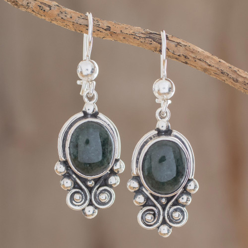 Hand Crafted Sterling Silver Good Luck Jade Dangle Earrings 'Praise Love'
