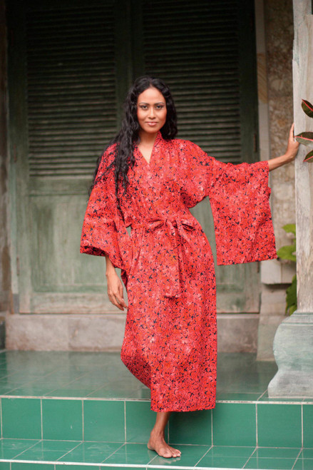 Women's Long Red Cotton Batik Wrap and Tie Robe 'Red Floral Kimono'