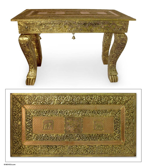 Coffee Accent Table End Brass Repouss Handmade  'Royal Signature'