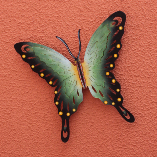 Collectible Green Butterfly Steel Wall Sculpture Mexico 'Soul of Fortune'