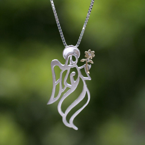 Gold Accented Sterling Silver Pendant Angel Necklace 'Angel Gabriel'