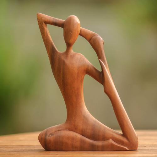 Wood Sculpture from Indonesia 'Yoga Stretch'