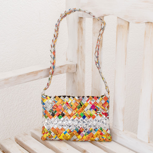 Central American Recycled Wrapper Shoulder Bag 'Eco-Fun'