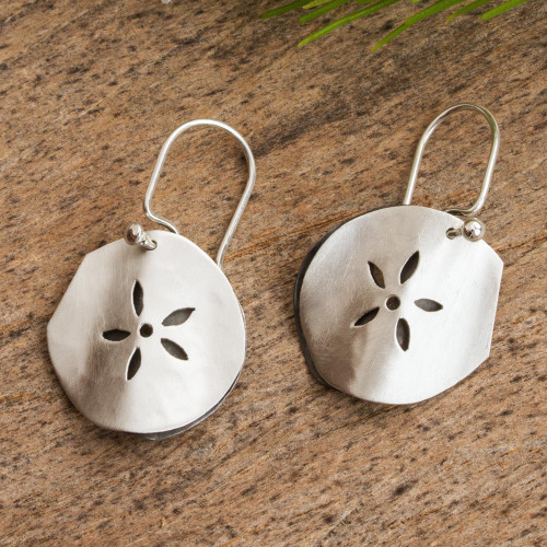 Handcrafted Mexican Taxco Silver Sea Life Earrings 'Fossil Flower'
