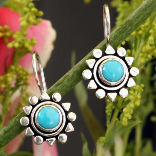 Fair Trade Sterling Silver Natural Turquoise Earrings 'Aztec Star'