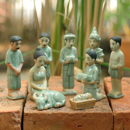 Celadon Ceramic Nativity Scene Set of 9 'Thai Christmas'