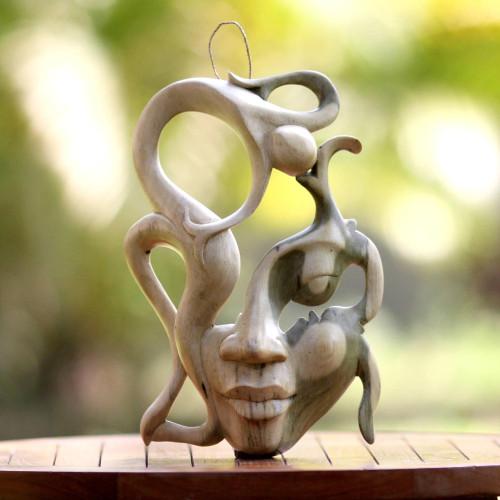 Unique Modern Wood Mask 'Balinese Woman'