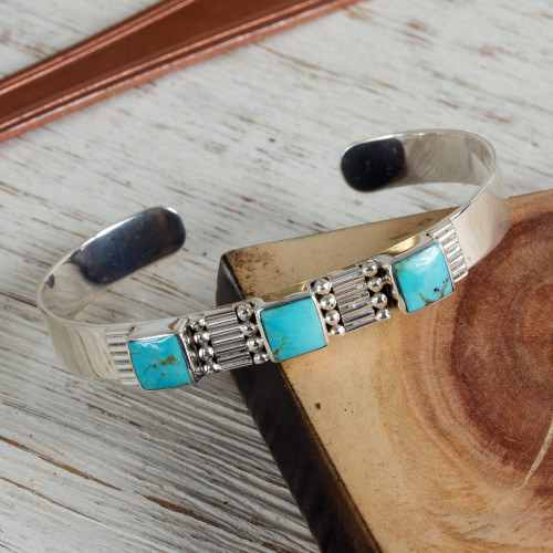 Hand Crafted Mexican Taxco Silver Cuff Natural Turquoise 'Aztec Crown'