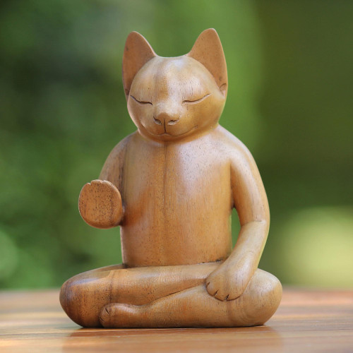 Original Wood Sculpture from Indonesia 'Blessing Cat'