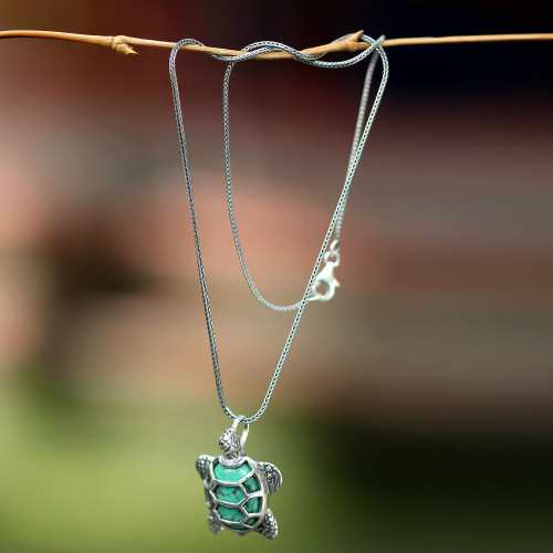 Sterling Silver and Reconstituted Turquoise Necklace 'Chelonia Turtle'