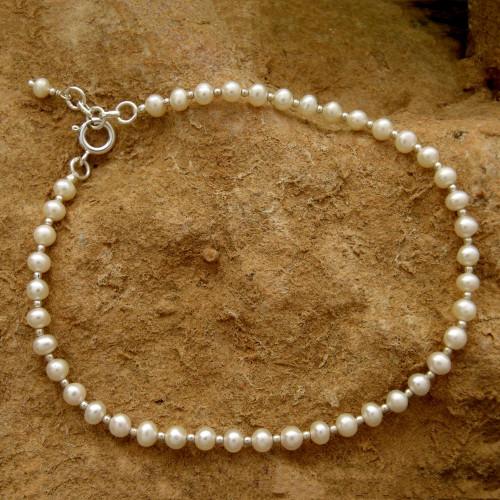Elegant Handmade Sterling Silver and Pearls Anklet 'Moon Dew'