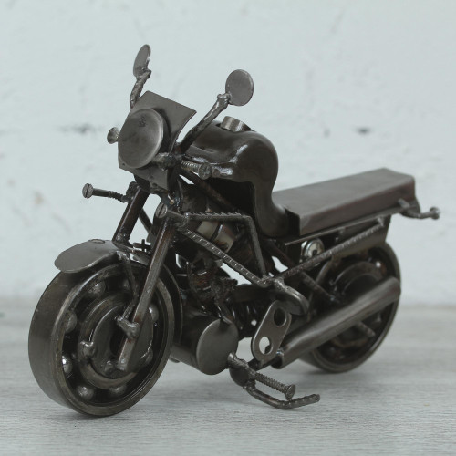Motorcycle Metal Recycled Sculpture from Mexico 'Rustic Monster Motorbike'