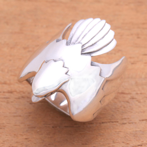 Men's Sterling Silver Ring from Indonesia 'Eagle Power'