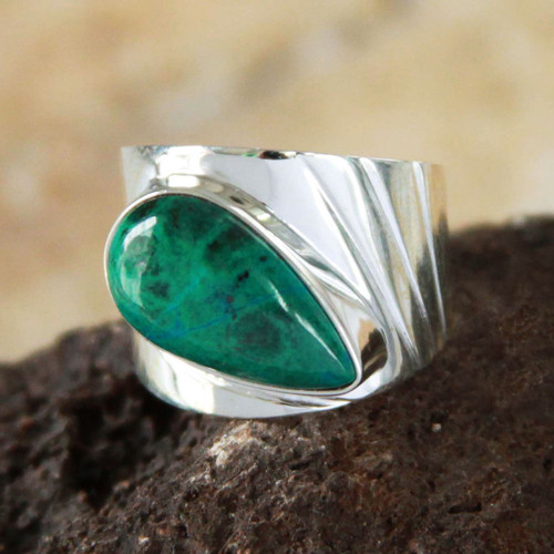Fair Trade Peruvian Sterling Silver and Chrysocolla Ring 'Huacho Heritage'