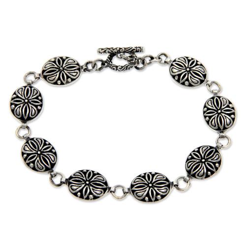Sterling silver link bracelet 'Floral Connection'