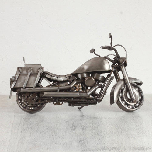 Hand Made Rustic Auto Parts Sculpture Recycled Mexico 'Adventurous Motorbike'