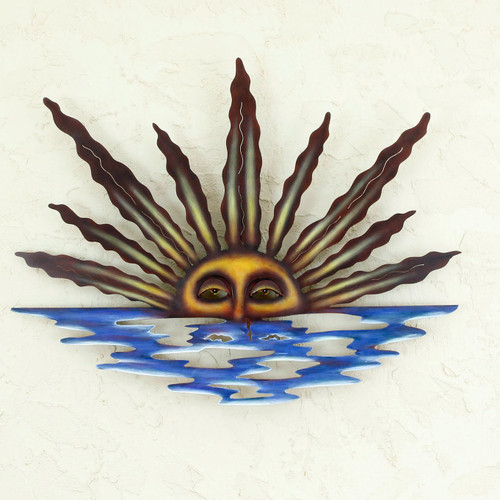 Artisan Crafted Mexican Sun and Moon Steel Wall Art 'Sunset in Sayulita'