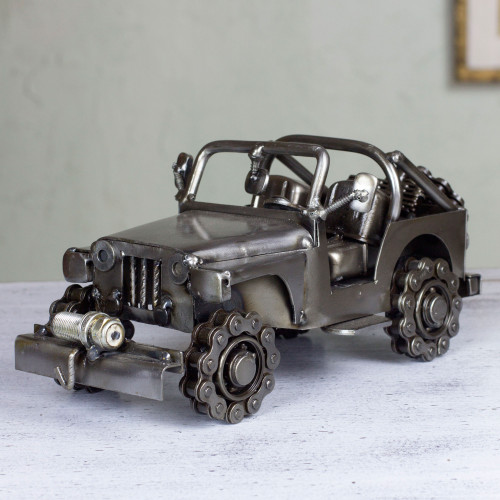 Artisan Crafted 4 x 4 Metal Recycled Auto Parts Sculpture 'Rustic Off-Road Jeep'