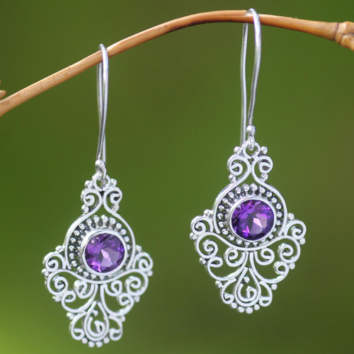 Artisan Crafted Sterling Silver and Amethyst Earrings 'Peacock Aura'