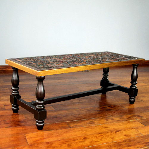 Mohena wood and leather coffee table 'Andean Birds'